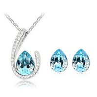 Wholesale Silver-Tone Waterdrop Crystal Jewelry Sets Pendant Necklace& Earrings Bridesmaid Jewelry Sets 6sets/lot JS073