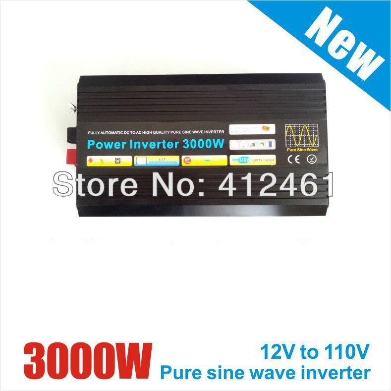 Free Shipping, 3000W Off Grid Tie Inverter DC12V/24V/48V Pure Sine Wave Inverter for Wind Turbine/Solar System, 6000W Peak Power(China (Mainland))