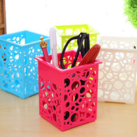 Desktop Storage Boxes mini cutout round storage box square candy color storage basket pen container free shipping