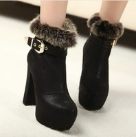 (XZ026)Euramerican fashion Thick with short boots High heels Waterproof tai Cotton boots Round headSingle boots