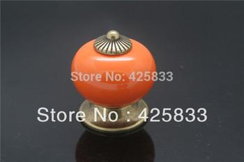 10 pcs Orange Smooth Ball Ceramic Handles for Kitchen Pulls Dresser Knobs Cabinet Hardware Wholesale