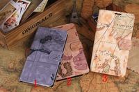 New fashion luxury Maps PU Leather Wallet Flip Stand Case Cover for samsung galaxy Note 3 III N9000,100pcs/lot,Free Shipping