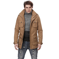 Ofdynamism men's season clothing water wash turn-down collar trench male medium-long trench outerwear 1263