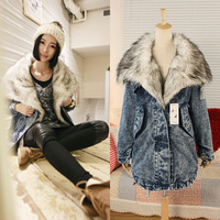 2013 women winter wadded jacket female outerwear thickening loose plus size casual long design woman denim overcoat