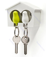 Novelty household items Lover Sparrow Key Ring Birdhouse Keychain Gadget Home Bird Nest Wall Hook 1pcs retail with Color box
