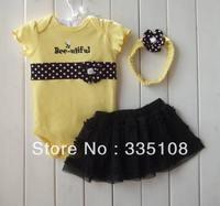 Stock 2013 Baby girls 3pcs set short Romper +Tutu Skirt + Headband yellow girls summer sets kids Fashion suits