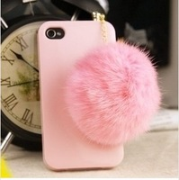 The new diamond rabbit hair ball for iphone4/4s dustproof plug,mobile phone cute earphone ball of fur dust plug, wholesale