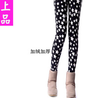 New 2013 Korean warm leggings fashion wild personality Star Print Group inverted skull nine Leggings leggings for women