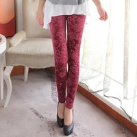 Free shipping new 2014 fashion Korean gold velvet embossed lace leggings nine special process  leggings for women warm leggings