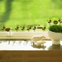 4pcs/lot ant tijuexian wall stickers cartoon glass decoration applique free shipping