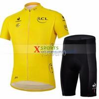 Free shipping -Free shipping Top Grade Quality 2013 Tour De France Cycling Jersey with Shorts bike bicycle riding wear Yellow