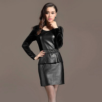 Autumn leather skirt one-piece dress 2013 women's slim plus size skirt long-sleeve basic leather one-piece dress female