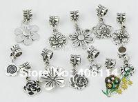 120PCS Mixed Tibetan Silver Plum Flower Charm Dangle Beads Fit European Bracelets DIY