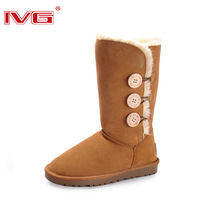free shipping original Ivg winter boots snow boots long gaotong 1873 genuine leather waterproof thermal women's shoes boots