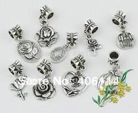 180pcs  Mix Tibetan Silver Rose Flower Charm Dangle Beads Fit European Bracelets DIY