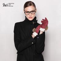 Shes women's elegant genuine leather full finger gloves pigskin leather armfuls thermal gloves