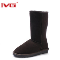 free shipping original Ivg snow boots 5815 gaotong boots genuine leather waterproof thermal female shoes cowhide boots
