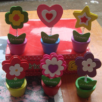 Wooden cartoon card stock notes folder photo clip card holder message clip 6 flower pot
