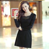 2014 Female Long-sleeve Fashion Elegant One-piece Dress With O-neck 100% cotton