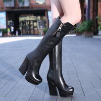 2013 women's boots fashion high heels platform high-leg genuine leather boots platform boots thick heel boots female y557