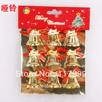 (9Pcs/set), Newnest  Christmas bell,Size 3.5cm, Santa bell, Golden color,Christmas decoration,free shipping