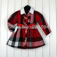 Free shipping 2014 girls autumn dress baby girls cotton  autumn dress 3 colors  fashion  baby grils dress 1-5yeas old