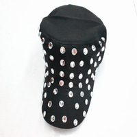 Wholesale&Retail,Cotton peaked cap with rhinestone,Punk and fashion style,Black,New arrival,Hot sale