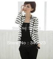 Hot Sale, Free Shipping, Fashion Stylish Women Jacket Ladies Leasure Stripped Coat Cardigan Outerwear, Y11