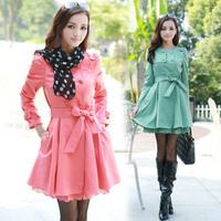 13 women's fashion ol slim gentlewomen lace decoration medium-long trench outerwear overcoat