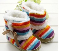 Hot sale Warm and Beautiful winter Rainbow Baby shoes, Infant Shoes,Baby Boots,Kids wear Free shipping. 3pairs/lot
