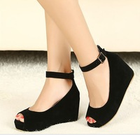 2013 Fashion hasp velvet open toe wedges single shoes 833 - 3