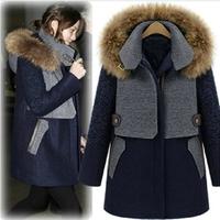 2013 wool thickening thermal woolen outerwear female fashion medium-long large fur collar cloak wool coat