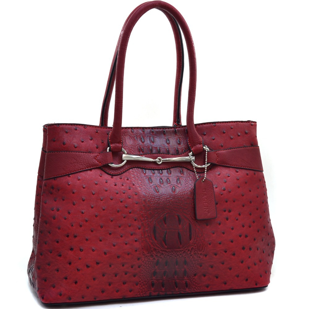 Women New Designer Inspired Leather Handbags High Quality Ostrich and Croco Fusion Accented Shoulder Bag Tote Bags(China (Mainland))