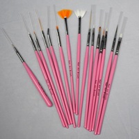 [AE529]15pcs Nail Art Design Brushes Gel Set Painting Draw Pen Polish Red Handle Dropshipping
