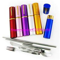 Portable 4in1 Cutlery Set Stainless Steel Spoon Fork Knife Folding Chopsticks in Pen Holder Travel Flatware Kit Free Shipping