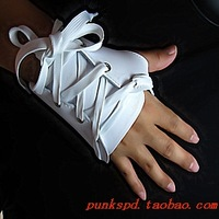 One piece selling,Wholesale&Retail,Leather Half Finger glove with bandage,Punk and MJ style, Black and white,Hot selling