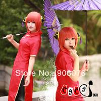 Best selling! Kagura Cosplay wig lovely female short curly orange wig long fringe can be cut Free shipping