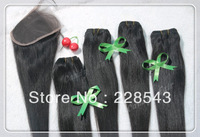 1PC Top Closure Straight With 4 Bundles Virgin Brazilian Hair Weft,5Pcs Lots Virgin Hair Shipping Free By DHL,10-26 mix length