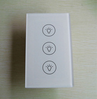 110v~240V AC 3 Gang Touch Light Switch Glass Panel Wall Switches 3 Gang with Blue LED, AC110-240V US Standard