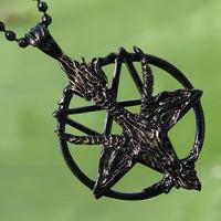 Black Goat Laveyan Baphomet Invert Pentacle Pentagram Pagan Wicca Pewter Pendant_th