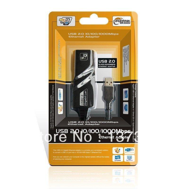 2013 New Arrival Hot New Plugable to 10/100/1000 Mbps Gigabit Ethernet LAN USB 2.0 Adapter Black Free shipping &wholesale(China (Mainland))