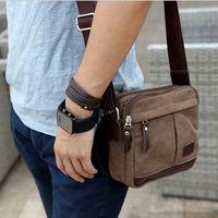 Men's Vintage Canvas Leather School Military Shoulder Bag Bolsas  bolso de hombro  Cross Body  Messenger Bag