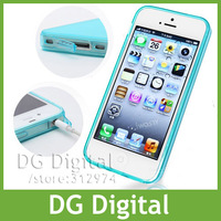Silicone Transparent TPU Case for iPhone 5 & 5S with  Dust Proof Plugs Dirt-resistant design