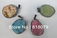 New fashion MIXED 5pcs/lot Druzy Geode Crystal Titanium Coated Colors fashion jewelry necklace pendants,free shipping