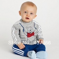 baby suit baby boy suit outfits: grey long-sleeved top + striped blue pants/ Made of cotton/ Sport set Boy sui