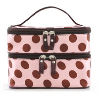 Rabbit bag big dot double layer professional cosmetic bag tote bag travel portable women's handbag