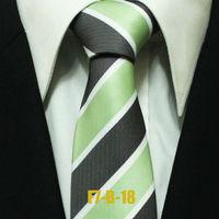 Mens Business Formal Green With Grey Neckties For Men Striped Woven Ties For Man Distinctive Gravatas Microfiber F7-B-18 7CM