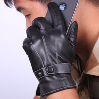 Leather gloves male autumn and winter cold-proof full thermal motorcycle gloves