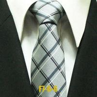 Mens Popular Gatsby Check Business Ties For Men Gray Plaid Man Formal Grid Neckties Classic Woven Gravatas 7CM F7-G-6