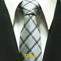 Mens Popular Gatsby Check Business Ties For Men Gray Plaid Man Formal Grid Neckties Classic Woven Gravatas 7CM F7-G-6